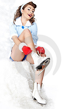 Ice Skating Pin-up Woman Stock Photography - Image: 23376812