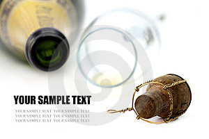 Cork, Champagne Glasses And Bottle Stock Image - Image: 23380531