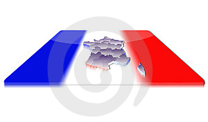 3D Map Of France On A 3d Flag Stock Photos - Image: 23382703