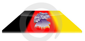 3D Map Of Germany On A 3d Flag Royalty Free Stock Photography - Image: 23382727
