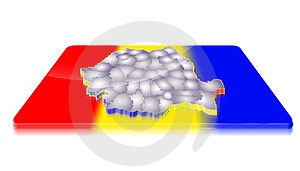 3D Map Of Romania On A 3d Flag Stock Photography - Image: 23382752