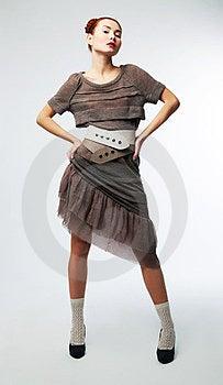 Fashionable Asian Girl In Stylish Retro Dress Stock Photo - Image: 23397600