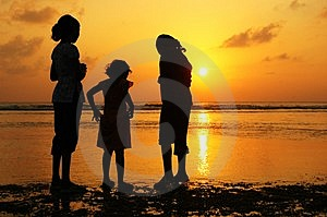 Girls At Sunset Royalty Free Stock Image - Image: 2340896