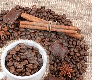 Grains Of Coffee, Chocolate, Anise, Cinnamon Royalty Free Stock Photo - Image: 23412015