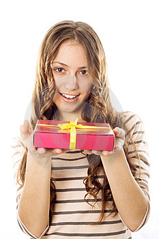 Girl With A Gift In The Hands Of Royalty Free Stock Photos - Image: 23412118