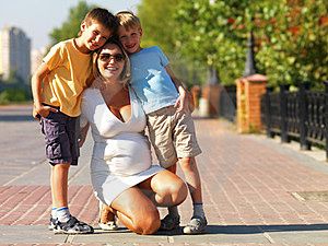 Young Pregnant Mother With Two Sons Stock Photo - Image: 23424770