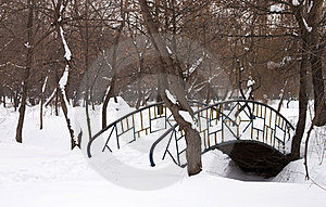 Bridge Covered With Snow - RAW Format Stock Photo - Image: 23425820