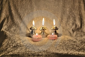 Candles On A Fabric Royalty Free Stock Images - Image: 23431159