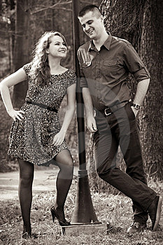 Happy Cute Couple Outdoor Stock Photo - Image: 23431250