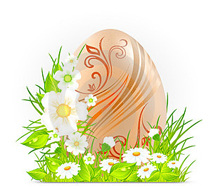 Egg With Flowers & Grass Royalty Free Stock Photos - Image: 23437728