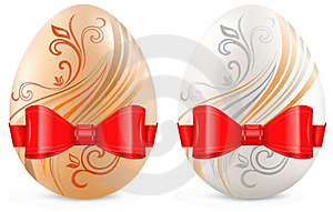 Decorated Eggs With Ribbon On White Royalty Free Stock Photos - Image: 23437798