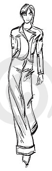 SKETCH. Fashion Girl. Royalty Free Stock Photography - Image: 23438677