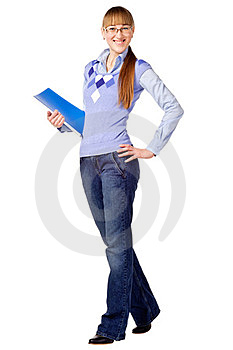 Successful Student Holding A Folder And Smili Stock Image - Image: 23439331