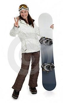 Woman Holding Snowboard On White Stock Photos - Image: 23450793