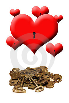 Hearts And Keys On A White Background Stock Image - Image: 23462511