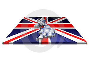 3D Map Of  UK On A 3d Flag Stock Photography - Image: 23464922