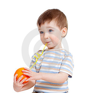 Funny Child Drinking Fruits Orange Isolated Royalty Free Stock Photo - Image: 23466615