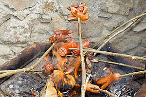 Outdoor Grilling Sausages Stock Images - Image: 23478964
