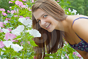 Girl With Flowers Royalty Free Stock Images - Image: 23480369