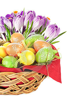 Easter Eggs Spring Flowers Royalty Free Stock Photos - Image: 23492038