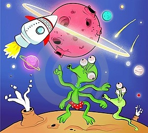Aliens Saw A Rocket Royalty Free Stock Images - Image: 23493299