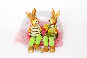 Toy Easter Rabbits In Love Stock Photos - Image: 23495813