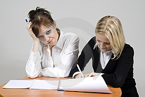 Girls Discontent Sign The Contract Stock Photos - Image: 23508403