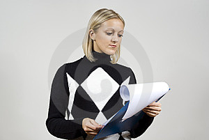 Beautiful Girl Read The Contract Royalty Free Stock Photo - Image: 23508525