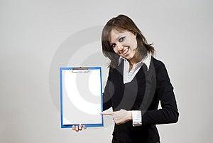 Beautiful Girl Smiling Indicates The Document Royalty Free Stock Images - Image: 23508629