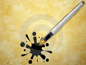 Pen And Splash Royalty Free Stock Images - Image: 23509749