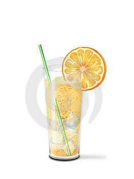 Glass Cool Lemonade And Orange Slice Stock Photography - Image: 23510212