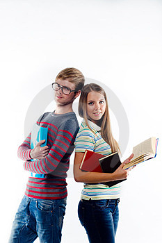 Male And Female Students Standing Back To Back Royalty Free Stock Images - Image: 23516259