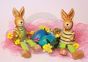 Easter Rabbits And Dyed Eggs Royalty Free Stock Photo - Image: 23523175