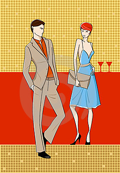 Woman And Man In Bar Royalty Free Stock Images - Image: 23524879