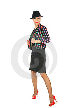 Woman In Motley Jacket And Hat Royalty Free Stock Image - Image: 23526716