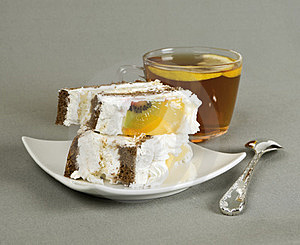 Pieces Of Cake, Tea And Tea-spoon Royalty Free Stock Images - Image: 23529899