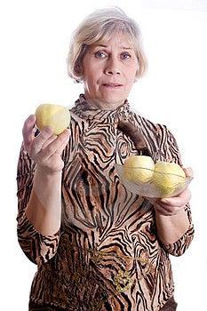 Senior Woman Holding Fruits Royalty Free Stock Photography - Image: 23529927