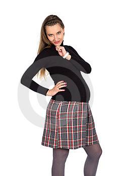 Nice Pregnant Girl In Plaid Skirt 1 Stock Photos - Image: 23564373