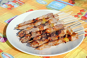 Cocked Pork Kabobs Grilled On Skewers Stock Photography - Image: 23569612