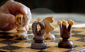 Chess Play With Focus To Black King In Front Royalty Free Stock Image - Image: 23570056