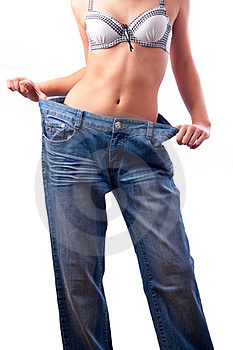 Athletic Muscular Female Body In Old Trousers Royalty Free Stock Photos - Image: 23570418
