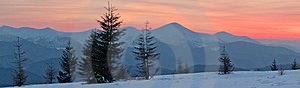 Winter Landscape At Sunset Stock Photo - Image: 23571470