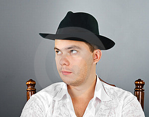 Portrait Of Young Man In A Hat Royalty Free Stock Photography - Image: 23577187