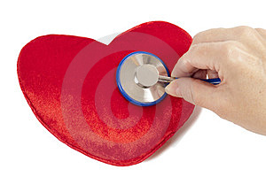 Red Heart With Blue Stethoscope Royalty Free Stock Photos - Image: 23584348