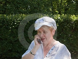 The Adult Female Has A Telephone Stock Images - Image: 23589874