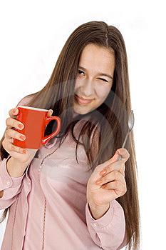 Woman Holding A Cup Of Coffee Stock Image - Image: 23591191