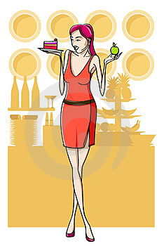 Woman And Cake. Royalty Free Stock Image - Image: 23595326
