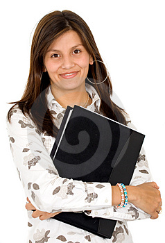 Business woman with a folder Royalty Free Stock Photos