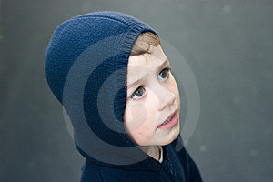 Boy In Navy Blue Hood Royalty Free Stock Photography - Image: 23613647