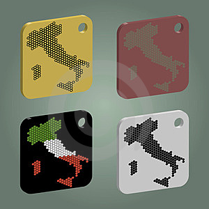 Badges Set With Italy Map Royalty Free Stock Photos - Image: 23617108